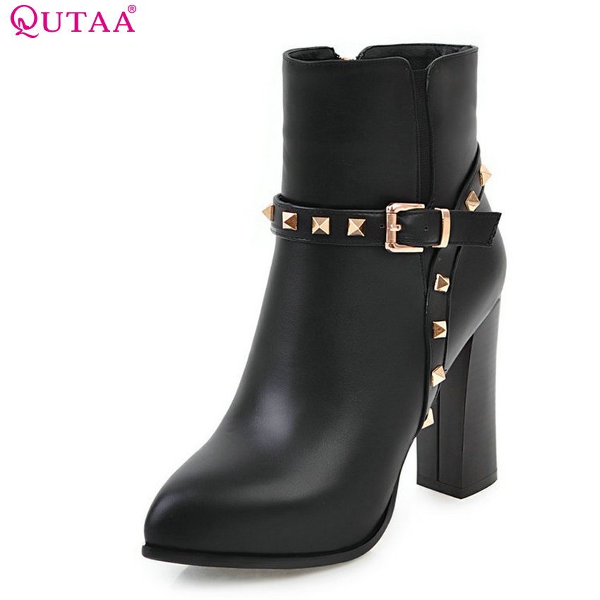 QUTAA 2018 Women Ankle Boots Fashion Zipper Square High Heel Pointed Toe Pu Leather Spring and Autumn Women Boots Size  34-43 nemaone 2018 women ankle boots square high heel pointed toe zipper fashion all match spring and autumn ladies boots