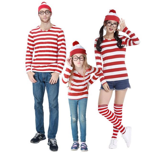 where s wally waldo now red white cosplay costume shirt sweater hat