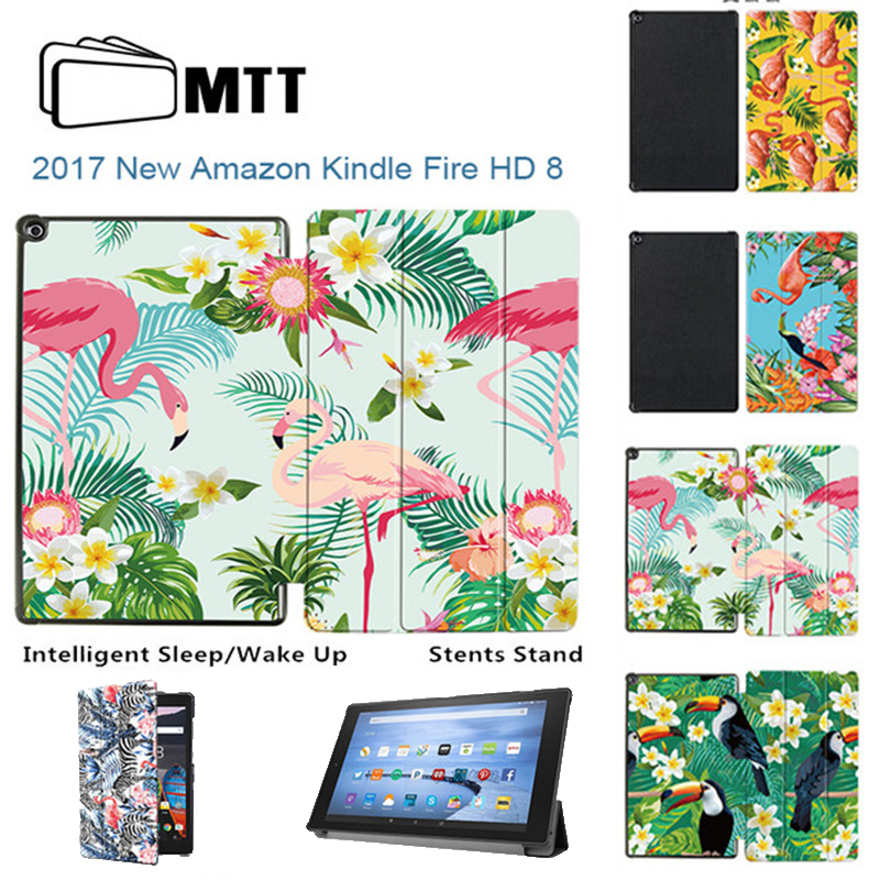 MTT smart case for amazon kindle fire hd 8 tablet cover 2017 release Flamingo Stand cover for all new fire hd 7th generation