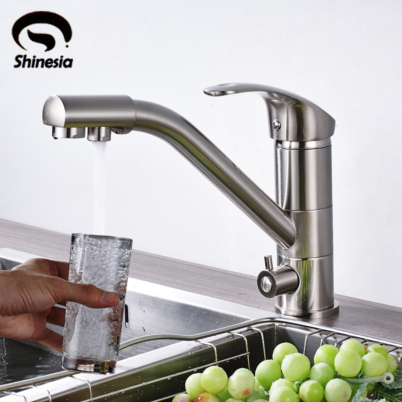 Kitchen Faucet Purified Water Purification Faucets Deck: Solid Brass Kitchen Purification Faucet Double Handle Pure