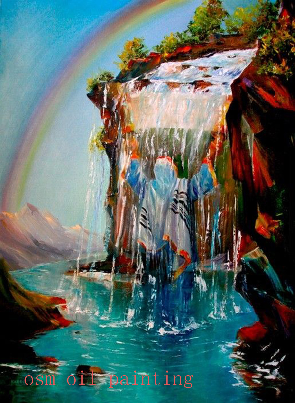 Handmade Modern Abstract A Beautiful Jewish Under the Waterfall Art Acrylic Picture Hand Painted Rainbow Landscape
