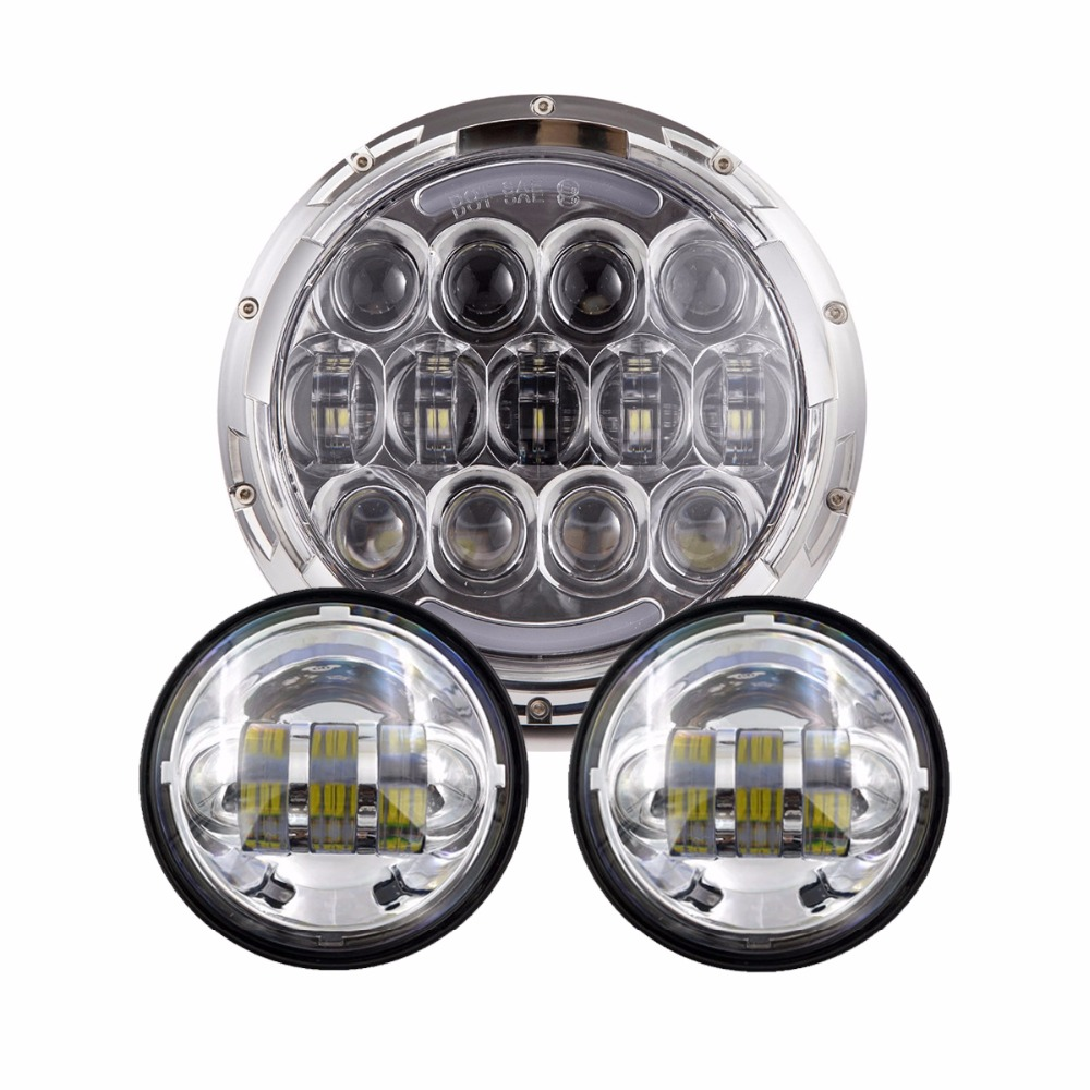 Motorcycle 7 inch Lamp 7 LED Headlight Hi/Lo Beam 105W +4.5 Inch 30W LED Fog Lamp Lights for Harley Davidson accessories 1pcs 5 75 inch led motorcycle projector daymakers 5 75 inch headlight for harleys dyan h4 hi lo beam lights lamp bulb angle eye