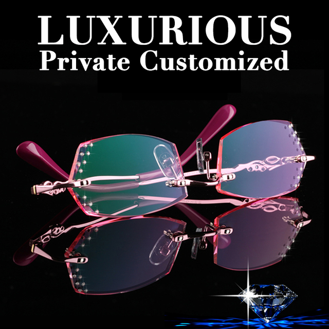 18d4ff45d7c522 Luxury Rhinestone Eyeglass Frames For Women Brand Design Rimless Eyeglasses  Ladies Computer Prescription Complete Spectacles 643