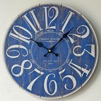 Blue Digital Large Wall Clock Wooden Creative ZAKKA Circular Antique Clocks Coffee Shop Restaurant Bar Home Decoration
