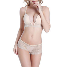 2017 Fashion Lace Bras U-shaped Push Up Bra Three Quarters Panty Set Wire Free 3/4 Cup Women Underwear Gather Lingerie Intimate
