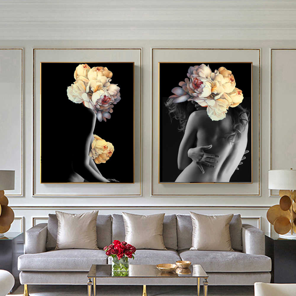WANGART Nordic Pictures Posters Decorative Wall Flowers Feather Nude Women Oil Painting Canvas Wall Art for Living Room Kitchen