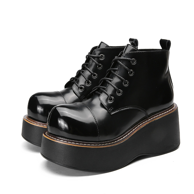 Image 3 - 2018 VALLU Women Shoes Wedge Boots Lace Up Roud Toes Platform Ankle Boots Genuine Leather Lady Casual Boots-in Ankle Boots from Shoes