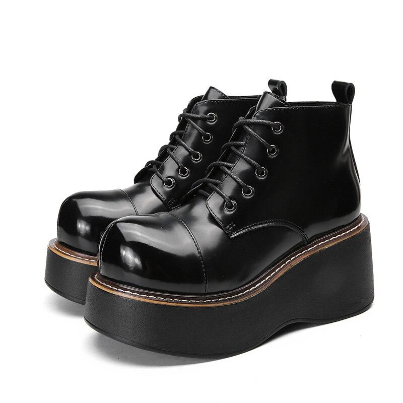 2018 VALLU femmes chaussures bottes compensées à lacets Roud orteils plate forme bottines en cuir véritable dame bottes décontractées-in Bottines from Chaussures    3