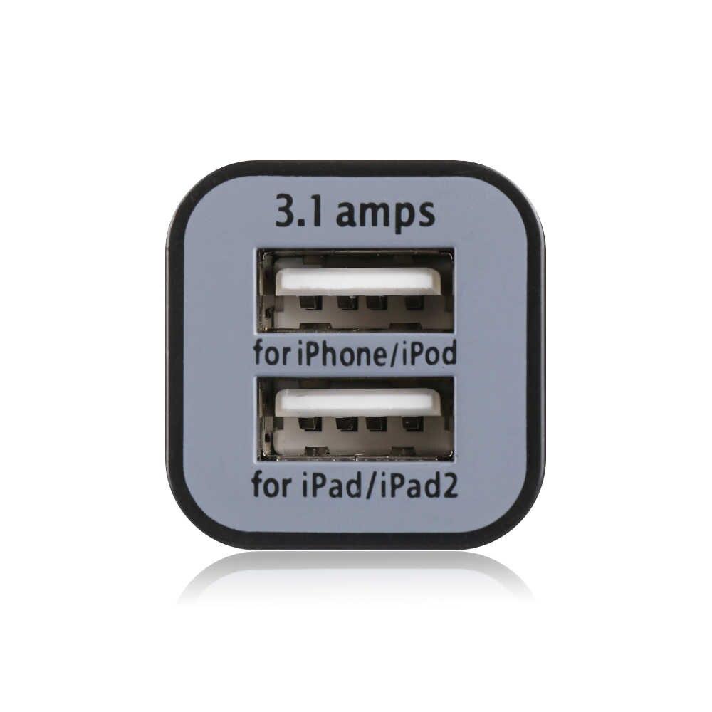 عالمي صغير 3.1A 12 فولت المزدوج USB 2-Port سيارة سريعة مهايئ شاحن ولاعة السجائر المقبس شحن سريع آيفون 5 6 7 8 iPod