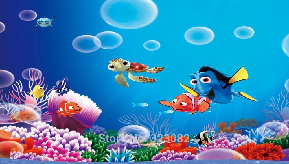 High Quality Finding Nemo Cartoon 3d Mural Wallpaper Papel De Parede 3D Wall  Murals Contact Paper For Kids Room Ikea Wallpaper In Wallpapers From Home  ... Part 52