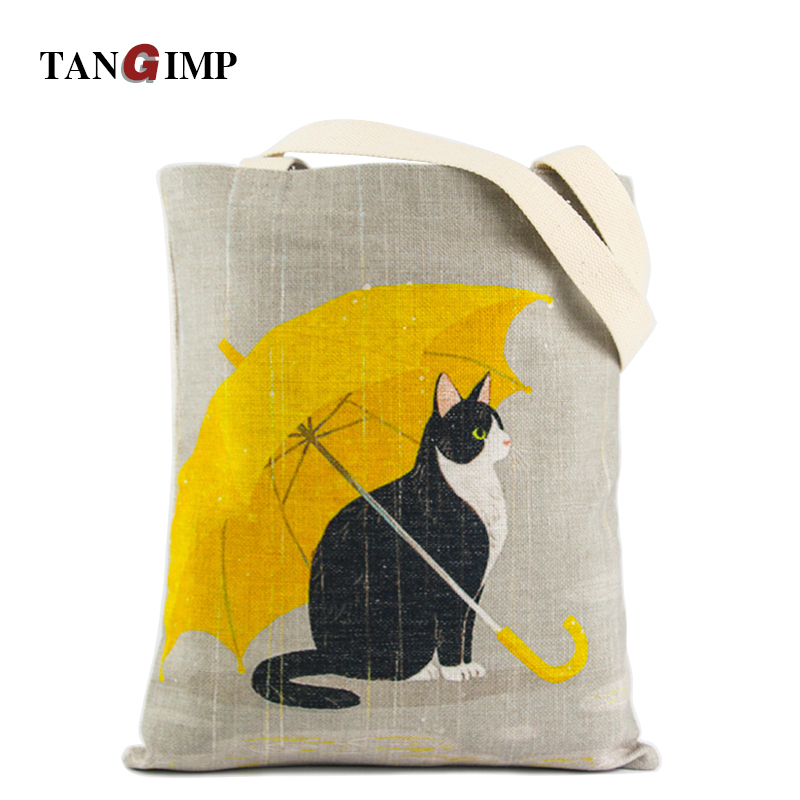 TANGIMP 2017 Carry-All Cotton DIY Grocery Shopping Handbags for Laptop Cute Cat Women Heavy Duty Eco Reusable Tote Beach Bags