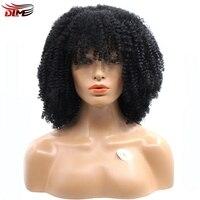Dlme Średni Afro Perwersyjne Kręcone Peruki Pełna Bangs Bezklejowy Koronki Przodu Syntetyczna Żaroodporne Włosów Dla Czarnych Kobiet Afroamerykanin