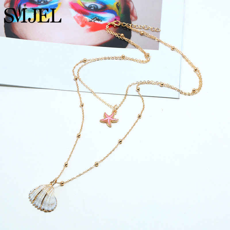 SMJEL Two Layer Chains Choker for Women Fashion Bohemian Summer Chic Bib Collier Femme Cowrie Shell Necklaces Dropshipping