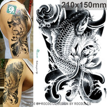 LC814/New 2015 3D Horror Big Black Fish  Designs Cool Temporary Fake Tattoo Sleeves Stickers