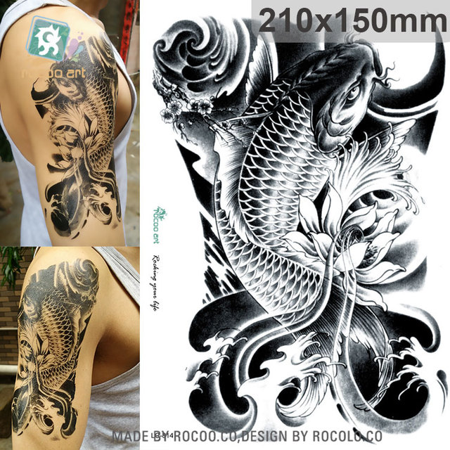 d3b133f7201d0 LC-814/New 2016 Big Black Golded Fish Tattoo Designs Cool Temporary Fake  Tattoo Arm Sleeves Stickers