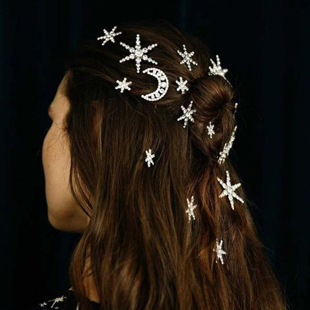 Branded Design Star Moon Crystal Hair Clip Hair Pins Fashion Wedding Hair  Accessories Women Prom Party Hair Jewelry Gift