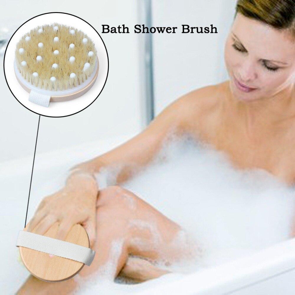 Cepillo de ducha Exfoliante para masajeador de celulitis mejora el drenaje linfático eliminando toxinas con cepillo corporal de cerdas