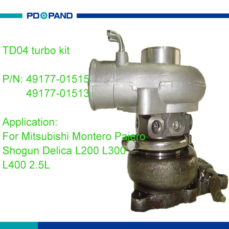 Kit de chargeur turbo TD04 refroidi à l'eau 49177-01513 49177-01515 pour Mitsubishi Montero Pajero Shogun L200 L300 L400 Delica 2.5L