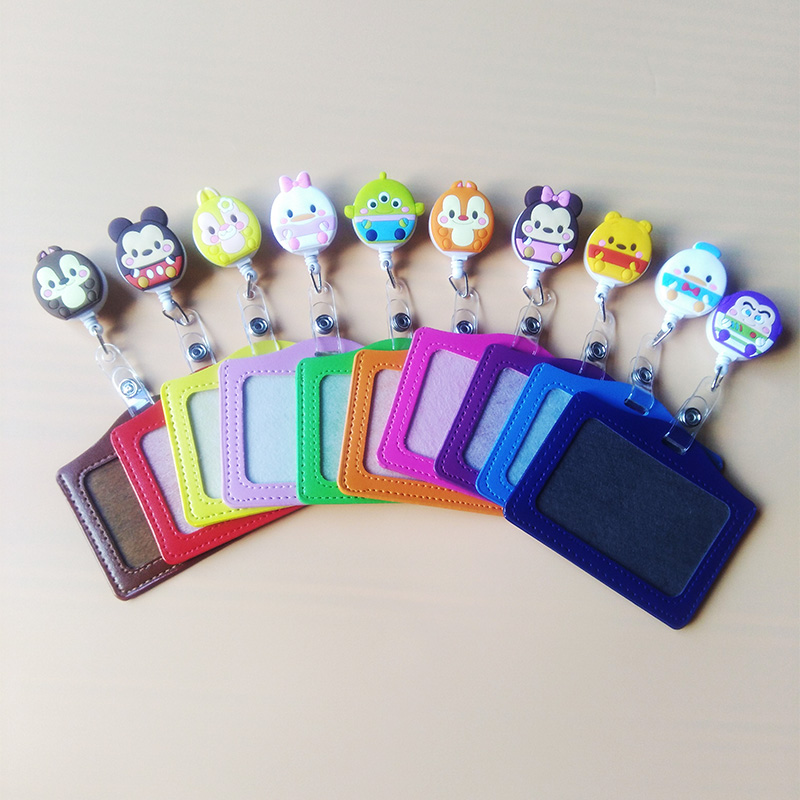 1Pcs Cartoon Bear Retractable Badge Reel Student Nurse Horizontal Type Exihibiton ID Name Card Badge Holder Stretched 60 Cm