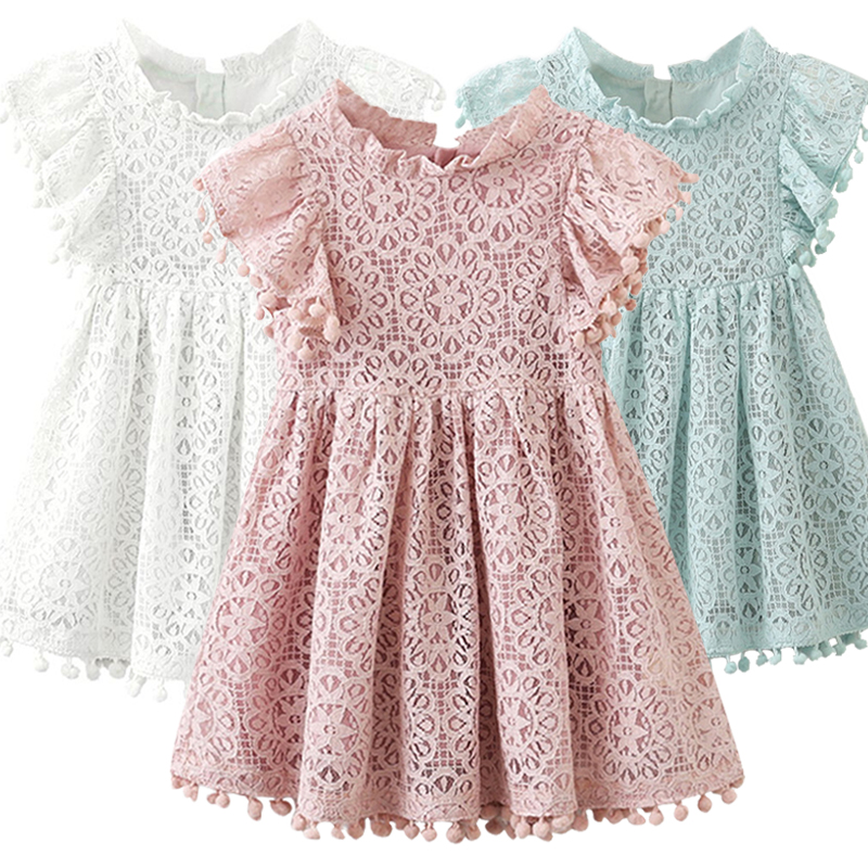 Kids Girl Ball Gown Dress NEW White Toddler Girl Summer Lace Dress  8 9 10Year Princess Birthday Party Dress Children Clothing