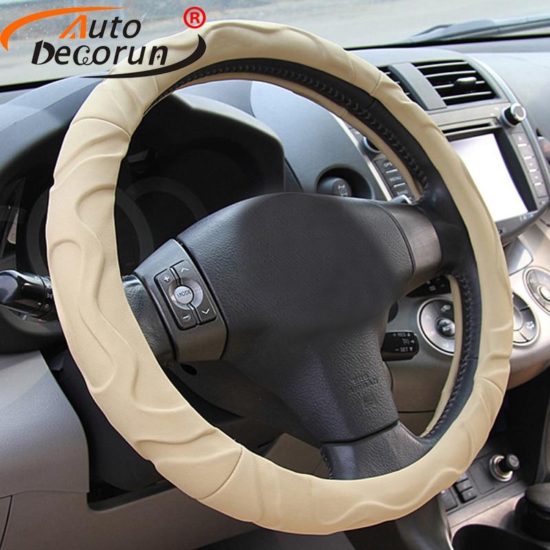 AutoDecorun Leatherette Car Steering Cover for Suzuki Jimny Kizashi Grand vitara Swift Sport Lgnis Car Steering Wheels Hub Cover
