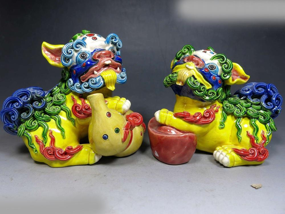 DS China Handmade Gourd Yuanbao Fine Luck Koji Pottery Foo Dogs Lion Pair Statues