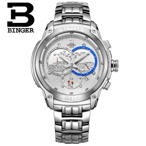 Binger 2017 New Sports Men's Steel Quartz watch Mens Wrist Watches Top Brand Luxury Male Geneva Watches Relogio Masculino Hours original binger mans automatic mechanical wrist watch date display watch self wind steel with gold wheel watches new luxury