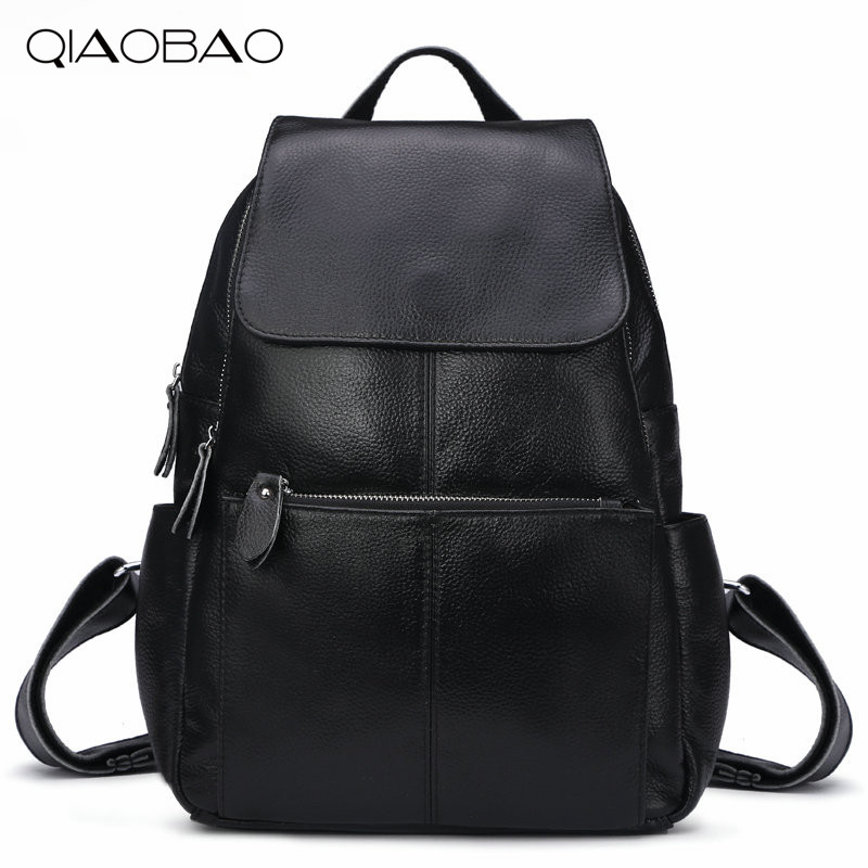QIAOBAO 100% Natural Leather Backpack Korean fashion Cowhide Leather bags simple multi-functional hardware lock shoulder bag qiaobao 2018 new leather backpack cowhide shoulder bag fashion korean version of the wave backpack simple fashion bag