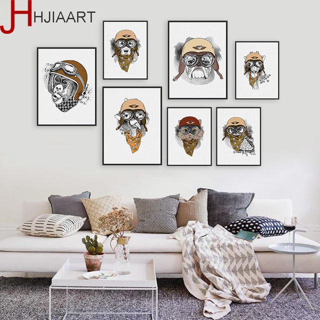 Vintage Retro Hippie Animal Giraffe Owl Helmet A4 Big Art Print Poster Wall Pictures Canvas Painting No Framed Home Deco