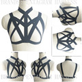 Sexy Goth Harness Crop Top Inspired Harness Bra Black Elasticity Bondage BodyCage Lingerie Frame Fetish Goth Lingerie Rave Wear