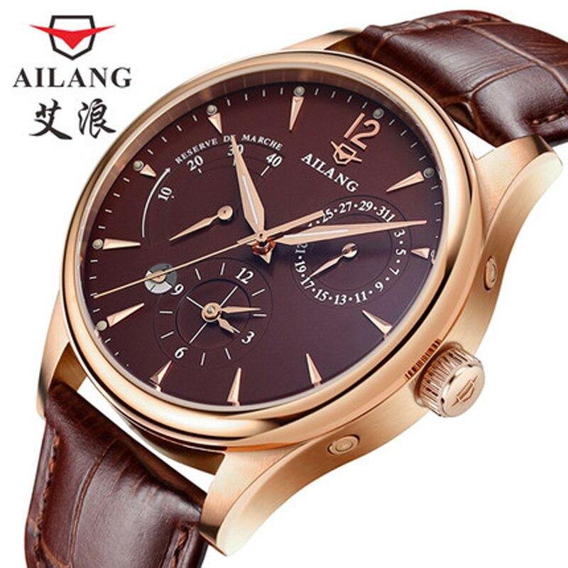 Chaleur! AILANG de luxe de marque hommes montres automatique en cuir d'affaires décontractée montre relojes puissance réserve 7-pin café montre