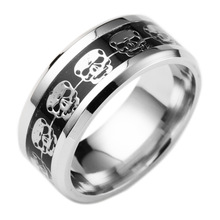 Men's Punk Style Stainless Steel Ring with Skull Themed Pattern
