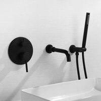 Ванная комната настенные черный горячей и холодной Водопад Медь 3 отверстия ванной смеситель для душа клапан