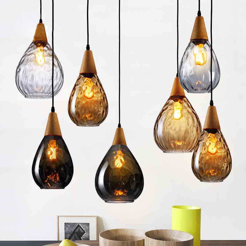 Loft Style Creative Wood Glass Droplight Edison Vintage Pendant Light Fixtures For Dining Room Hanging Lamp