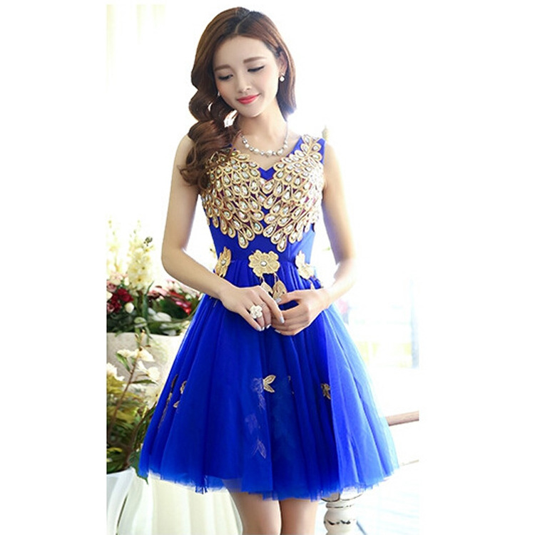 Real Pictures Royalblue Lace Short Elegant   Cocktail     Dresses   In Stock vestido de festa curto