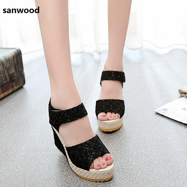 82279fff7 New Trendy Fashion Women Girl Faux Leather High Heel Platform Lace Peep Toe  Beach Sandals