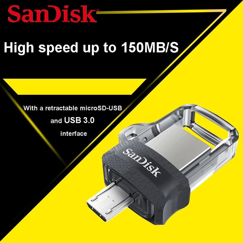 SanDisk Dual OTG USB Flash Drive 32gb 16gb PenDrives 64gb SDDD3 USB Stick USB 3.0 Pen Drives 128GB support 0fficial Verification