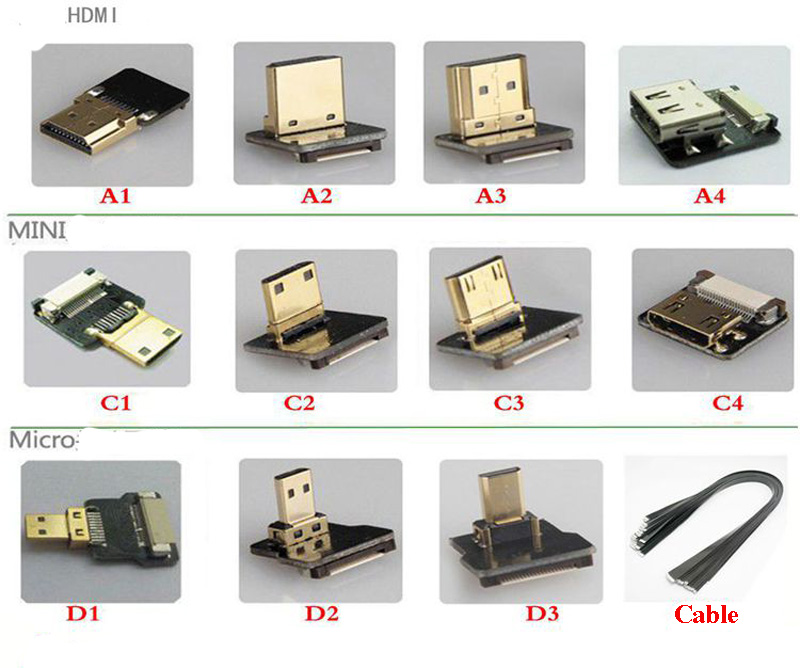 3pcs 5cm 100cm Fpc Ribbon Flat Hdmi Cable Fpv Micro Hdmi
