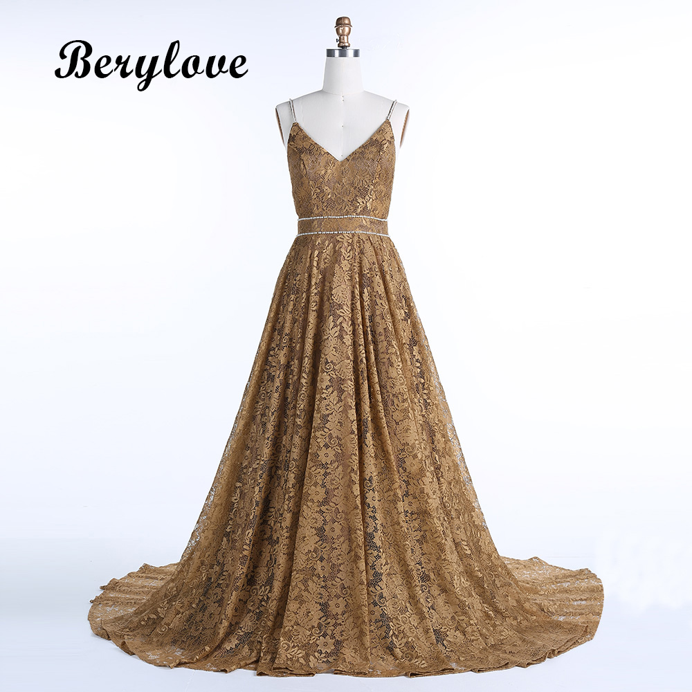 BeryLove Long Dark Champagne Lace Evening Dresses 2018 Backless ...