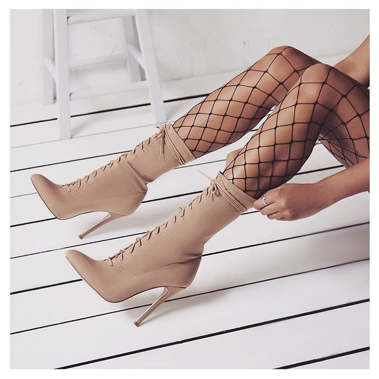Ladies Unique Design Beige Black Pointed Toe Md-calf Boots Tie Up Thin High Heel Gladiator Motorcycle Boots Nice Dress Boots