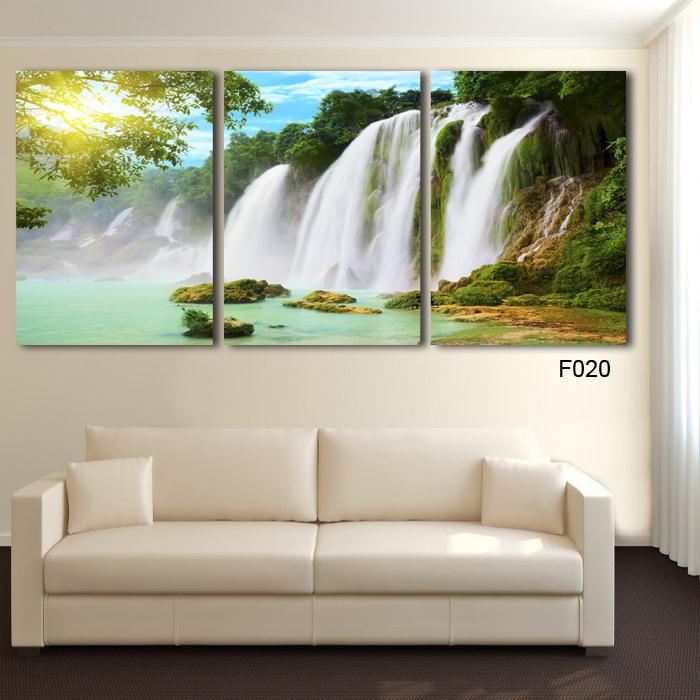 Drop Shipping 3 Piece Wall Art Painting Canvas Strong Waterfall Natural Beauty Modern Picture Home Decor In Calligraphy From