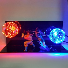 Dragon Ball Z Vegeta Son Goku Super Saiyan Fighting Together Led Lighting Anime Model Toy DBZ