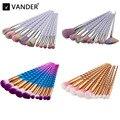 Vander 7/10 unids Pro Maquillaje Cosmético Pinceles de Maquillaje Corrector Fundación Polvo de Sombra de Ojos Del Arco Iris Kits Kabuki Colorete Puff