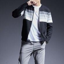 Мужской облегающий свитер в полоску, вязаные джемперы с круглым вырезом, повседневная одежда в Корейском стиле для осени, 2020