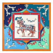 130 см war horse брендовый шарф 100% шелковый саржевый для женщин