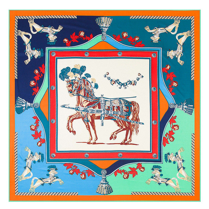 War Horse Brand Scarf 100% Silk Twill Scarf For Women Square Scarves 2020 New Kerchief For Ladies Shawl Wraps Echarpe
