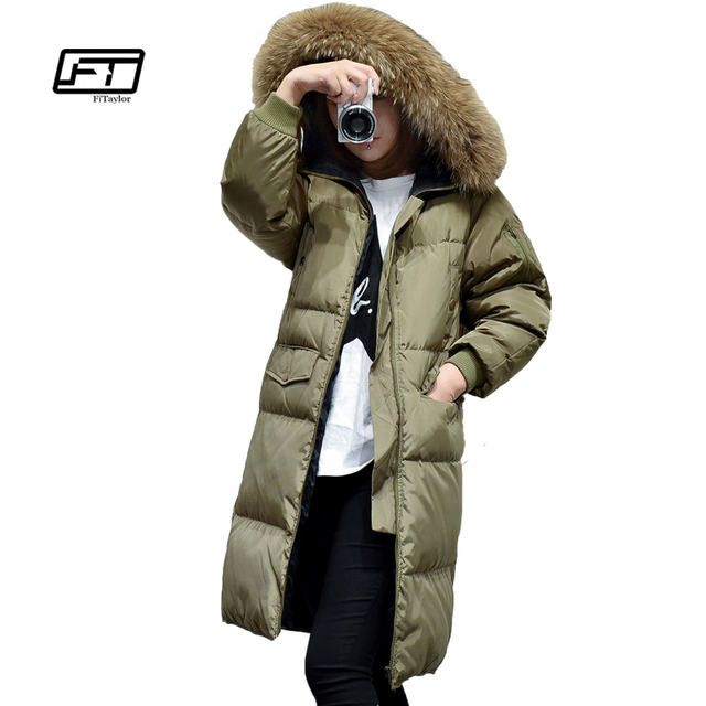 Fitaylor Winter Natural Raccoon Fur Parkas Women Duck Down Hooded Jackets Thickening Wadded Coats Feminos Long Overcoat