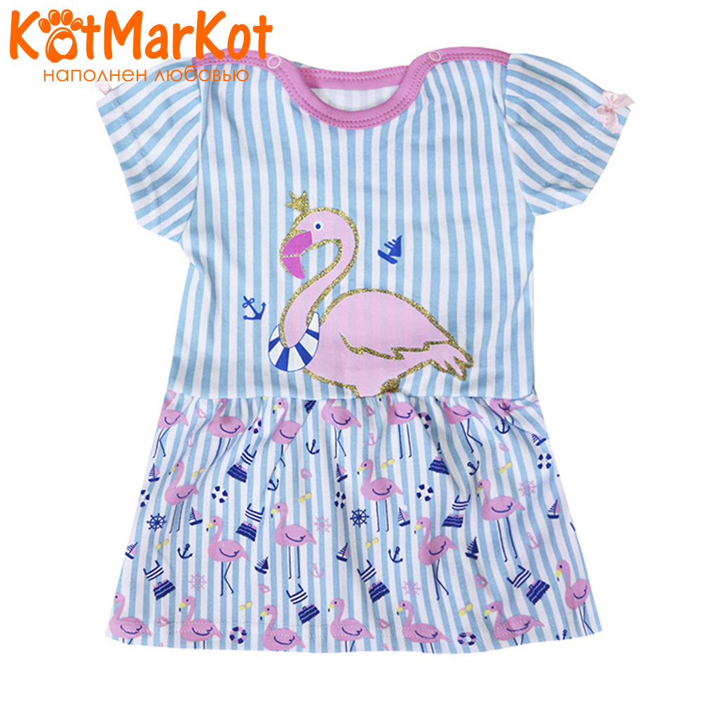 Фото - Dresses Kotmarkot 73403 baby dress for a girl tunic for newborns  summer  Cotton Casual plus lace insert floral tunic dress
