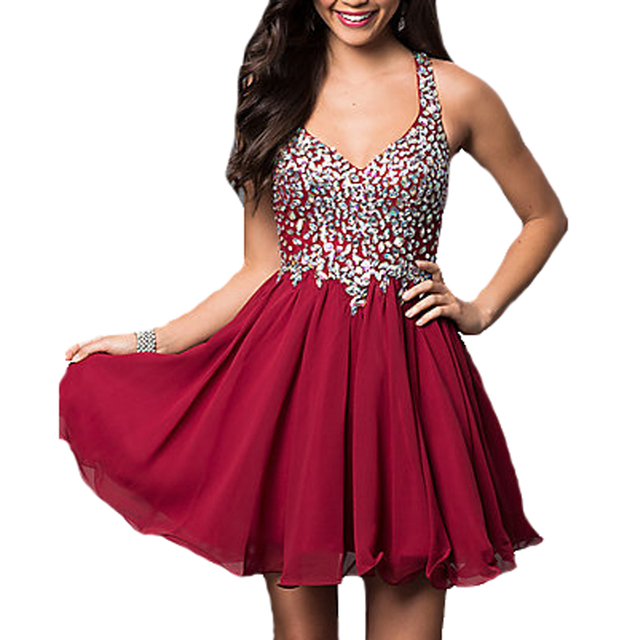 3783aeb58c 2016 BlingBling Rhinestone Crystal Maid of Honer Burgundy wedding Guest dress  Homecoming Cocktail Party Dress short