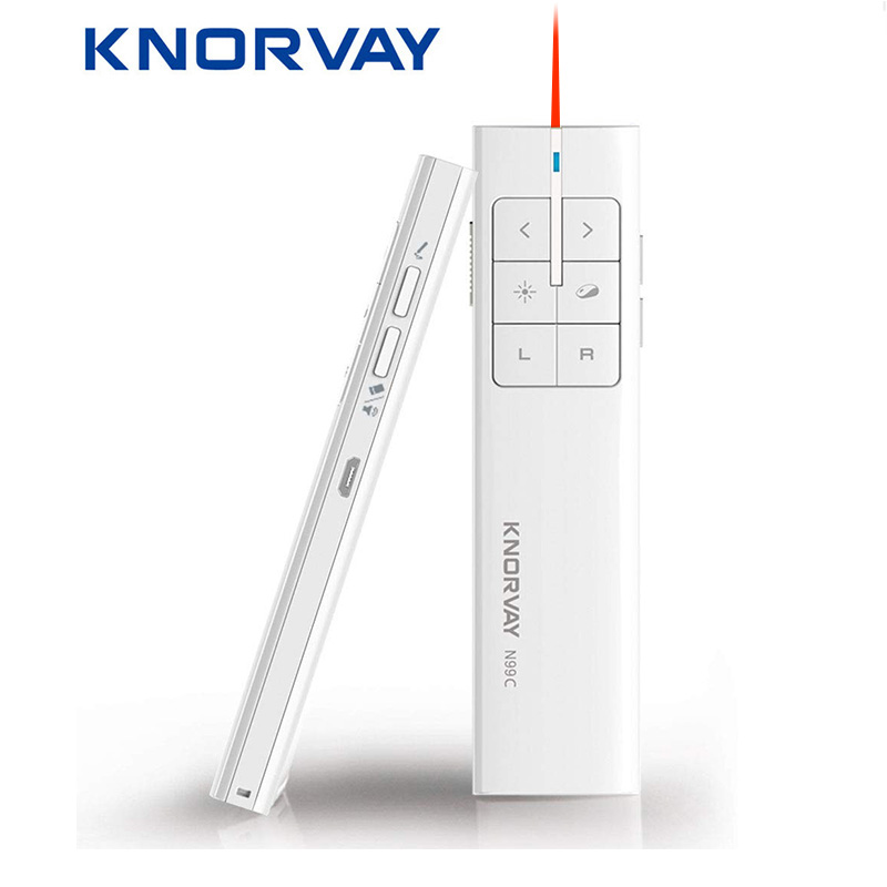 Knorvay N99 New Rechargeable Wireless Air Mouse Presenter, 2.4GHz PPT Presentation Wireless Remote Control Clicker